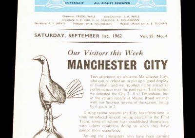 Tottenham Hotspur v Manchester City 01.09.1962