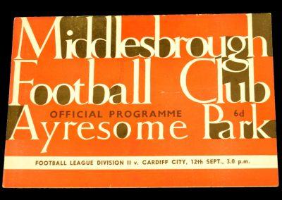 Cardiff City v Middlesbrough 12.09.1964