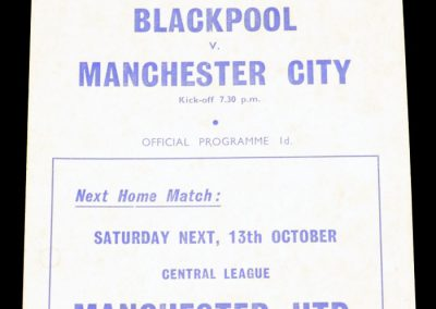 Blackpool v Manchester City 08.10.1962 | League Cup 2nd Round Replay