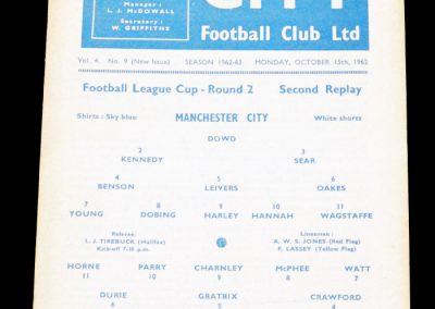 Blackpool v Manchester City 15.10.1962 | League Cup Round 2 2nd Replay