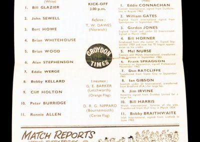 Crystal Palace v Middlesbrough 17.10.1964