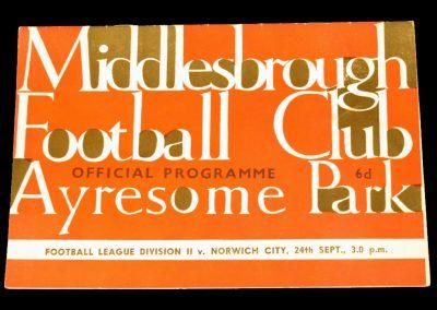 Norwich City v Middlesbrough 24.10.1964