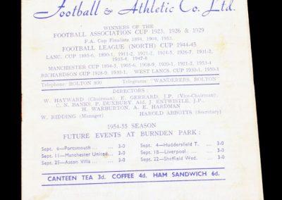 Bolton Wanderers v Blackpool 01.09.1954