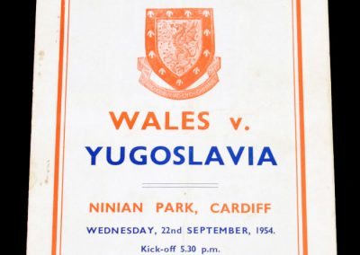 Wales v Yugoslavia 22.09.1954