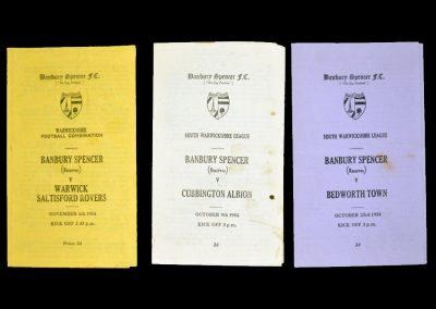 Banbury Spencer (reserves) v Cubbington 09.10.1954 / Bedworth Town 23.10.1954 / Warwick 06.11.1954