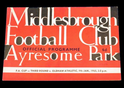 Oldham Athletic v Middlesbrough 09.01.1965 | FA Cup 3rd round
