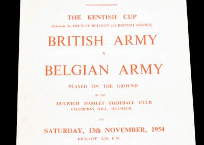 British Army v Belgian Army 13.11.1954