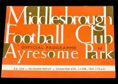 Charlton Athletic v Middlesbrough 01.02.1965 | FA Cup 4th Round Replay