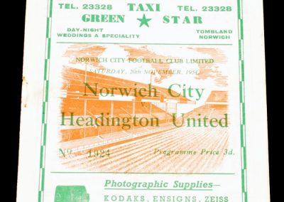 Norwich City v Headington United 20.11.1954   FA Cup 1st Round