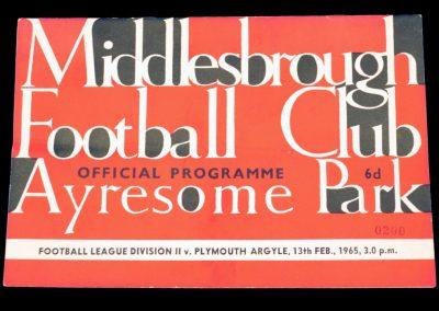 Plymouth Argyle v Middlesbrough 13.02.1965