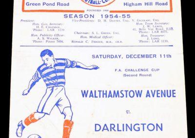 Walthamstow Avenue v Darlington 11.12.1954   FA Cup 2nd round