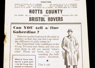 Notts County v Bristol Rovers 25.12.1954