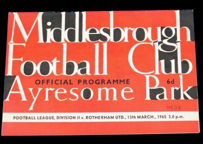 Rotherham United v Middlesbrough 13.03.1965