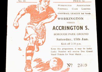 Workington v Accrington 15.01.1955