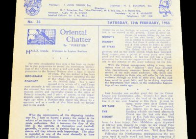 Leyton Orient v Gillingham 12.02.1955