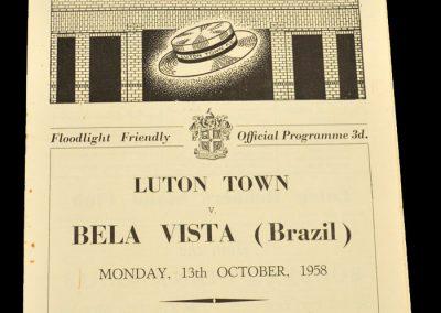 Luton Town FC v Bela Vista FC | 8-0 | 13.10.1958 | Tour of Europe