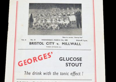 Bristol City FC v Millwall 09.03.1955