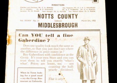 Notts County v Middlesbrough 05.03.1955