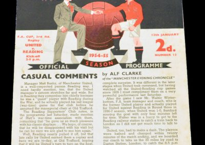 Reading v Manchester United 12.01.1955   FA Cup 3rd round replay