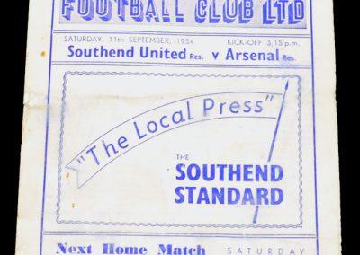 Southend United v Arsenal 11.09.1954