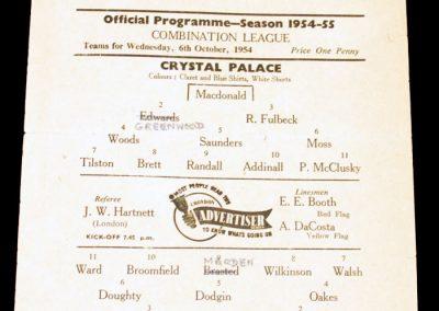 Crystal Palace FC v Arsenal 06.10.1954