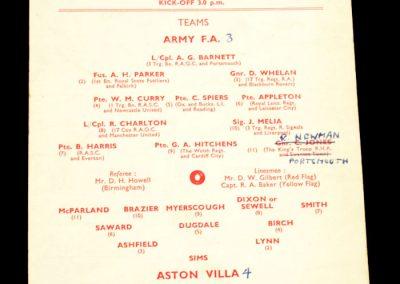 Aston Villa v The Army FA XI 16.10.1957