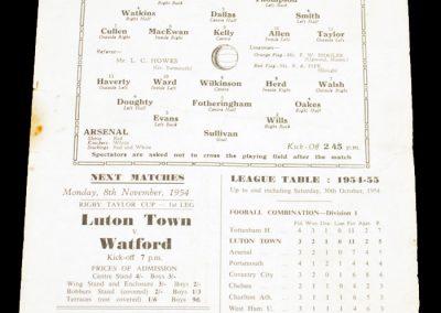 Luton Town Reserves v Arsenal Reserves 06.11.1954