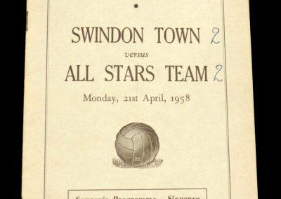 Swindon Town v All Stars Team 21.04.1958