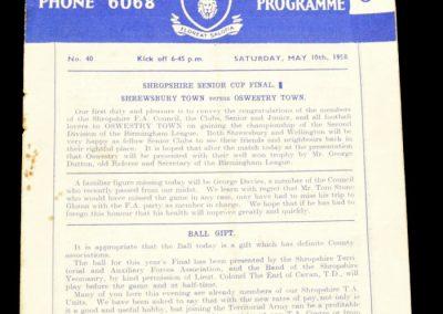 Shrewsbury v Oswestry 10.05.1958 | Senior Cup final