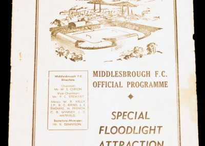 Middlesbrough FC v Glasgow Celtic 11.12.1957