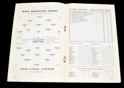Newcastle United v West Bromwich Albion 01.09.1954