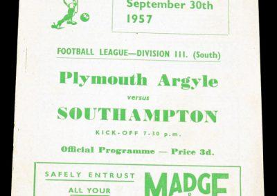 Plymouth Argyle v Southampton 30.09.1957