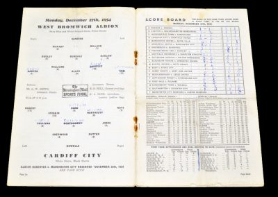 Cardiff City v West Bromwich Albion 27.12.1954