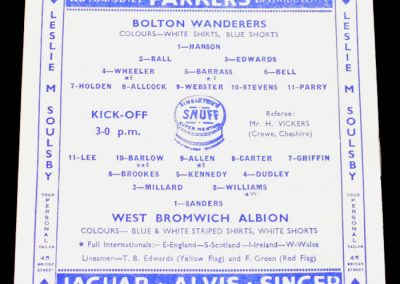 Bolton Wanderers v West Bromwich Albion 02.04.1955