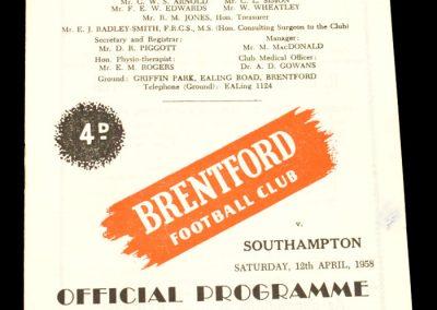 Brentford v Southampton 12.04.1958