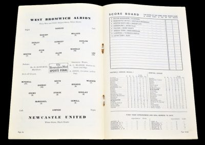 West Bromwich Albion v Newcastle United 01.09.1954