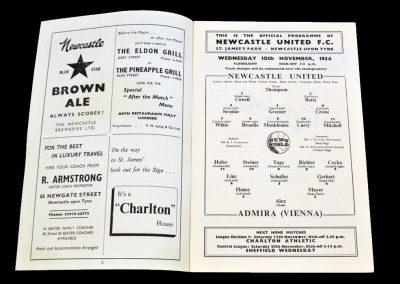Admira (Vienna) v Newcastle United 10.11.1954