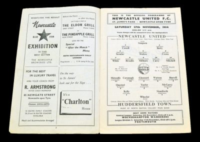 Huddersfield Town v Newcastle United 27.11.1954