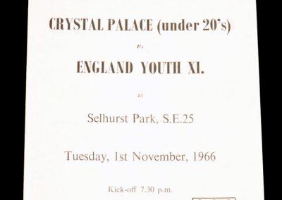 Crystal Palace under 20's v England Youth XI 01.11.1966