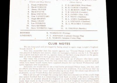 Crystal Palace v England 25.10.1967 | Youth Representative Match