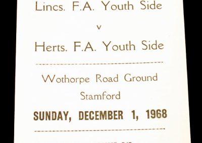 Lincs FA Youth Side v Herts FA Youth Side 01.12.1968