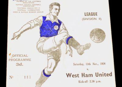 Ipswich Town v West Ham United 13.11.1954