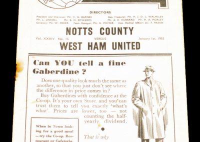 Notts County v West Ham United 01.01.1955