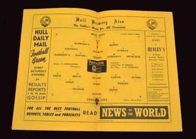 Hull City v Lincoln City 30.08.1954