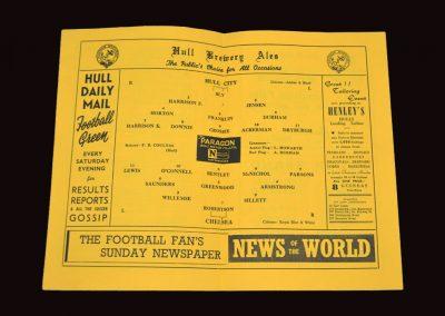 Hull City v Chelsea 11.10.1954   Friendly