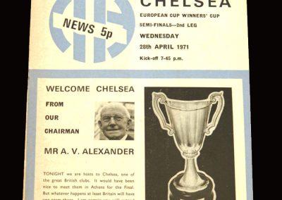 Chelsea v Man City 28.04.1971 - UEFA Cup Winners Cup Semi Final 2nd Leg