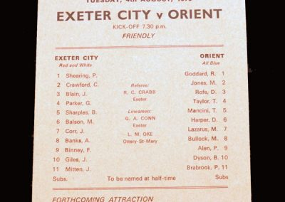 Leyton Orient v Exeter 04.08.1970 (friendly)