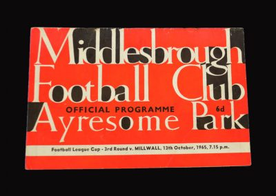 Middlesbrough v Millwall 13.10.1965 - League Cup 3rd Round