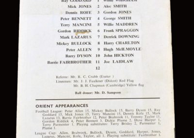 Leyton Orient v Middlesbrough 07.11.1970