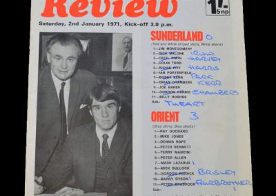 Leyton Orient v Sunderland 11.01.1971 - FA Cup 3rd Round (originally planned fro 02.01.1971)